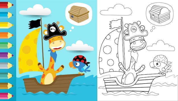 Cartoon van grappige piraten op zeilboot, giraffe en vogeljacht schat, kleurboek of pagina