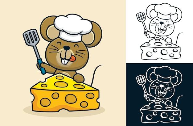 Cartoon van grappige rat die een koksmuts draagt terwijl hij een spatel met grote kaas vasthoudt
