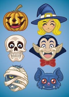 Cartoon van halloween tekenset