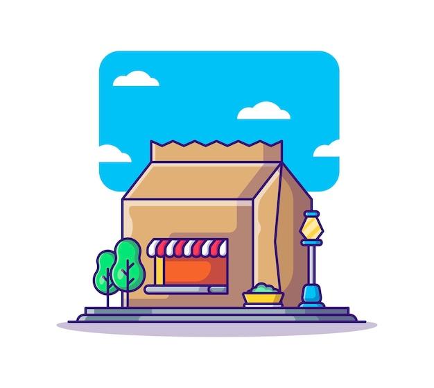 Cartoon van het gebouw van de voedselwinkel