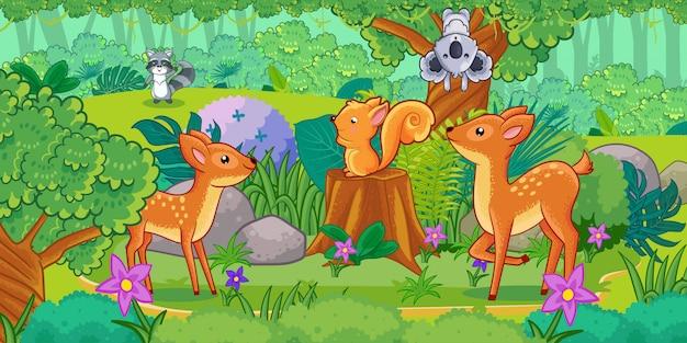 Cartoon van het prachtige landschap met verschillende dieren