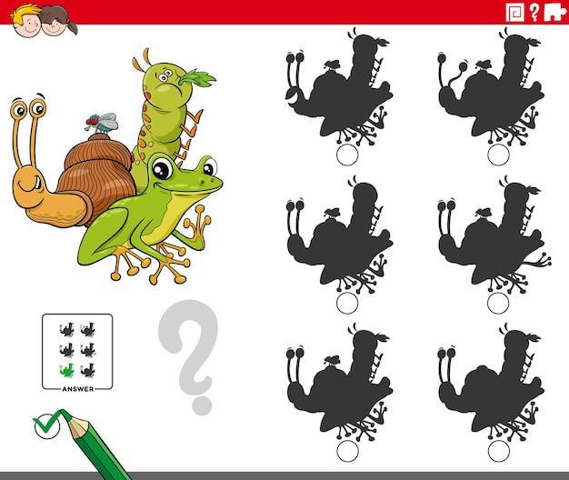 Cartoon van het vinden van de schaduw zonder verschillen educatief spel voor kinderen met dierlijke karakters