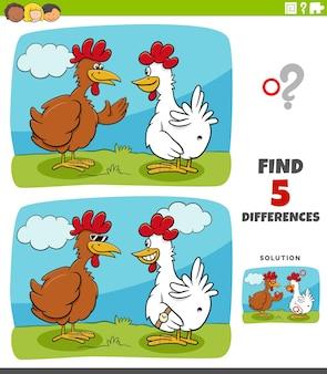 Cartoon van het vinden van de verschillen tussen afbeeldingen educatief spel voor kinderen met twee kippen of kippen