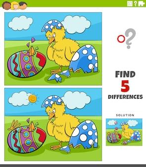 Cartoon van het vinden van de verschillen tussen educatieve game voor kinderen met paaskuikens die uit eieren komen