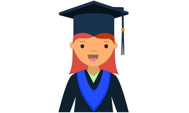 Cartoon van jonge vrouwelijke afgestudeerde karakter