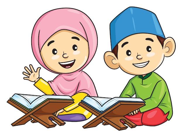 Cartoon van jongen en meisje moslim reciteren de koran