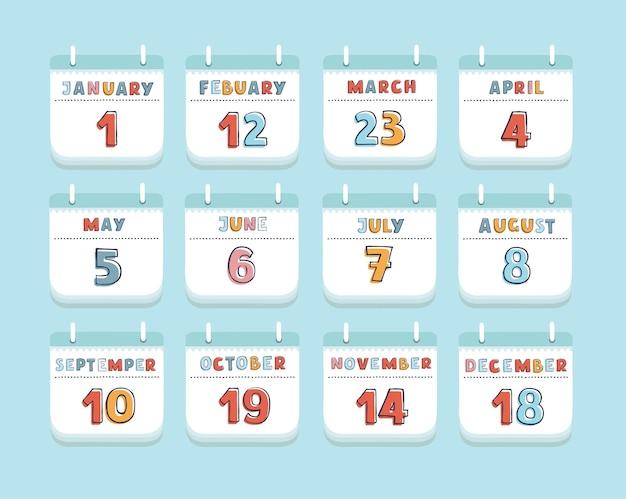 Cartoon van kalendermaand lopende jaar instellen briefpapier of herinnering moderne webdesign element. set van jaren maanden met dag. Premium Vector