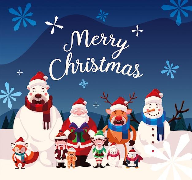 Cartoon van kerstmis met label prettige kerstdagen