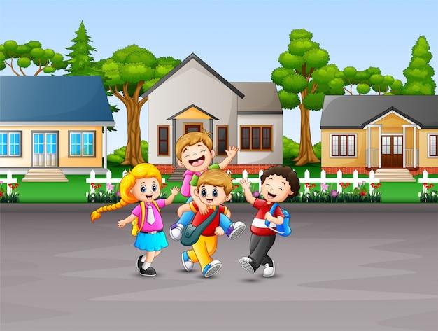 Cartoon van kinderen naar school gaan