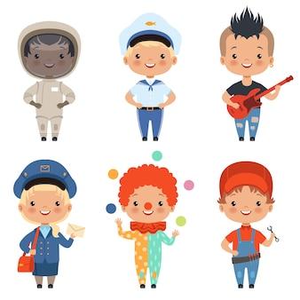 Cartoon van kinderen op verschillende beroepen