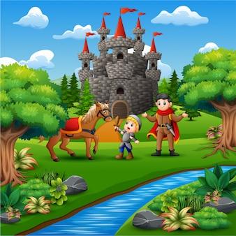 Cartoon van kleine ridder en een prins op de kasteelpagina