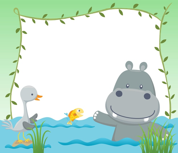 Cartoon van leeg leeg frame met grappige nijlpaard en kraanvogel in moeras