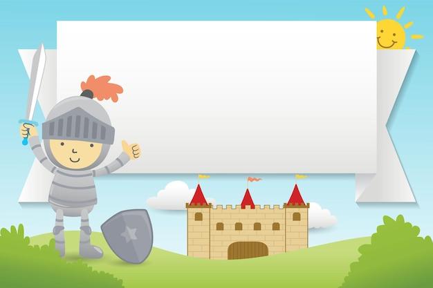 Cartoon van leeg leeg frame met kleine ridder op kasteel