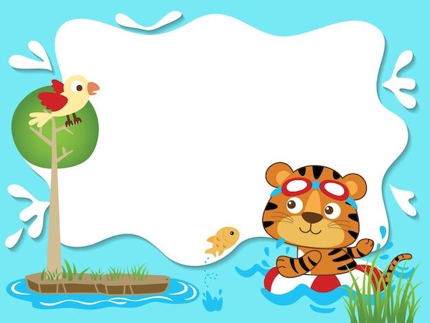 Cartoon van leeg leeg frame met tijger zwemmen met behulp van reddingsboei in rivier, vogel op boom
