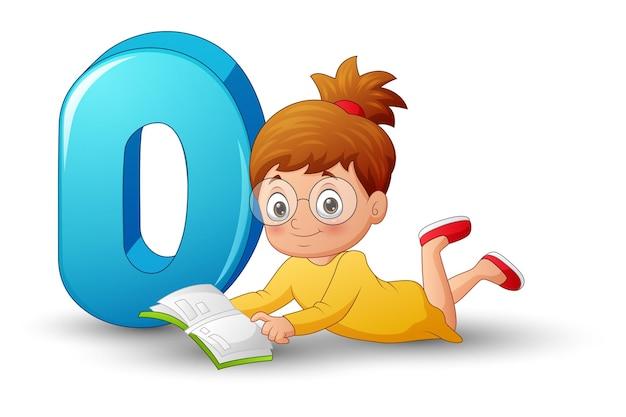 Cartoon van letter d met mooi meisje dat een boek leest
