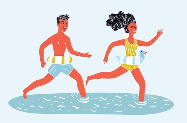 Cartoon van man en vrouw die samen op het strand in water rennen. paar gaan zwemmen aan zee. rubberen riem.