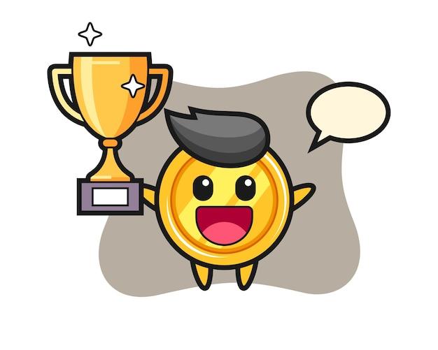 Cartoon van medaille is blij met het omhoog houden van de gouden trofee