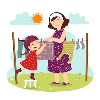 Cartoon van moeder en dochter die de was in de achtertuin hangen. kinderen doen van huishoudelijke klusjes thuis concept.