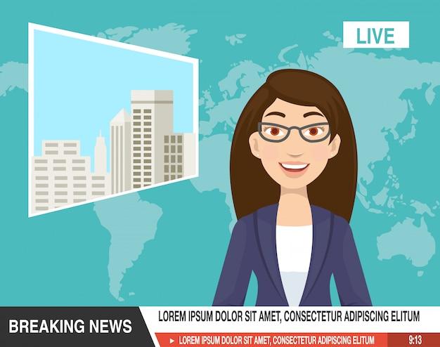 Cartoon van mooie verslaggever zijn klaar om het nieuws te kondigen