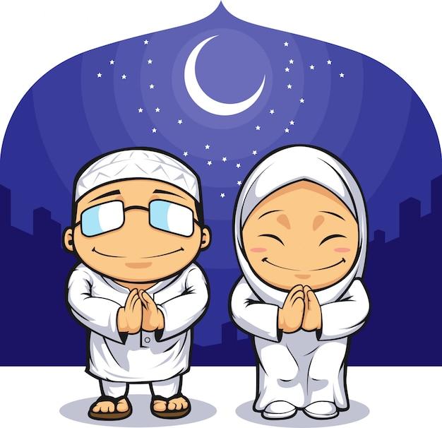Cartoon van moslim man vrouw groet ramadan