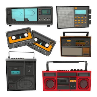 Cartoon van oude muziek cassetterecorders, spelers en radio set
