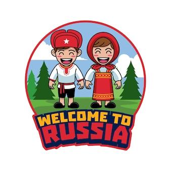 Cartoon van paar russisch in traditionele kleding