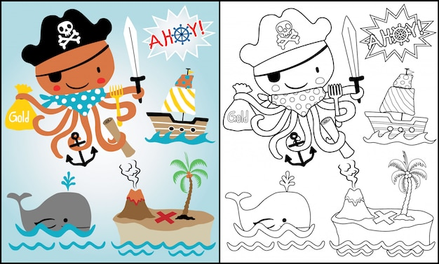 Cartoon van piraten thema met grappige octopus instellen