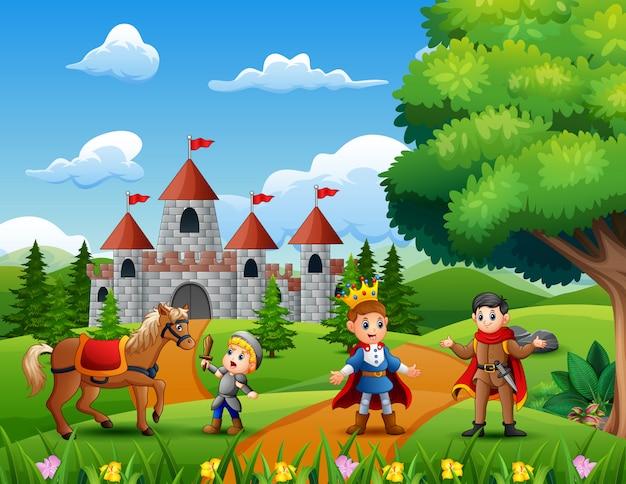 Cartoon van prins op de weg die leidt naar het kasteel