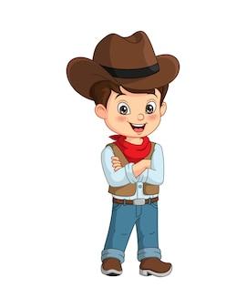 Cartoon van schattig een cowboy jongen