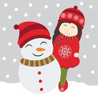 Cartoon van schattig meisje en sneeuwpop op sneeuw vallen achtergrond voor kerst briefkaart