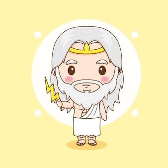 Cartoon van schattig zeus-personage