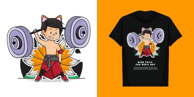 Cartoon van schattige jongen draagt nine tails fox devil costume en strijkt een barbell