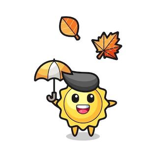 Cartoon van schattige zon die een paraplu vasthoudt in de herfst