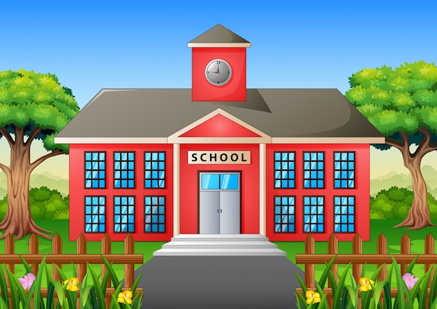 Cartoon van schoolgebouw met groene tuin