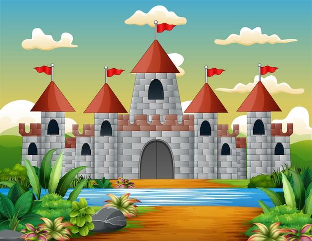 Cartoon van sprookjeskasteel met een prachtig landschap