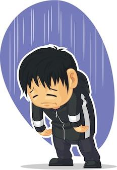 Cartoon van trieste jongen depressief