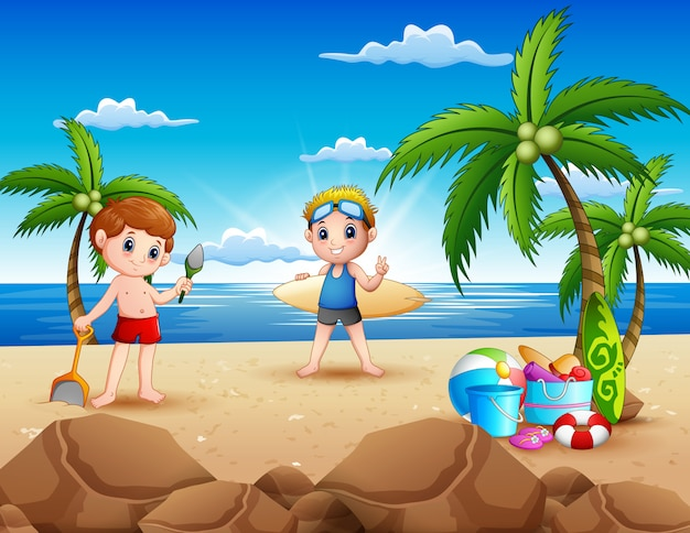 Cartoon van twee jongen spelen op het strand