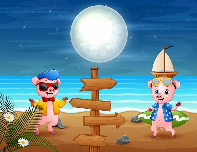 Cartoon van twee varkens op vakantie op het strand