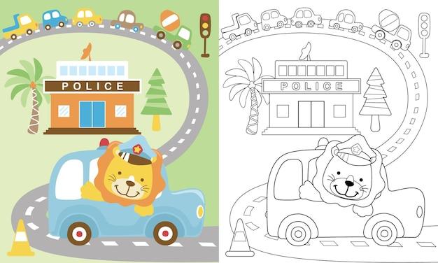 Cartoon van verkeersthema met schattige leeuw op auto