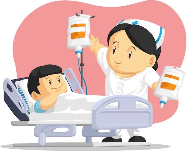 Cartoon van verpleegster die kindpatiënt helpt