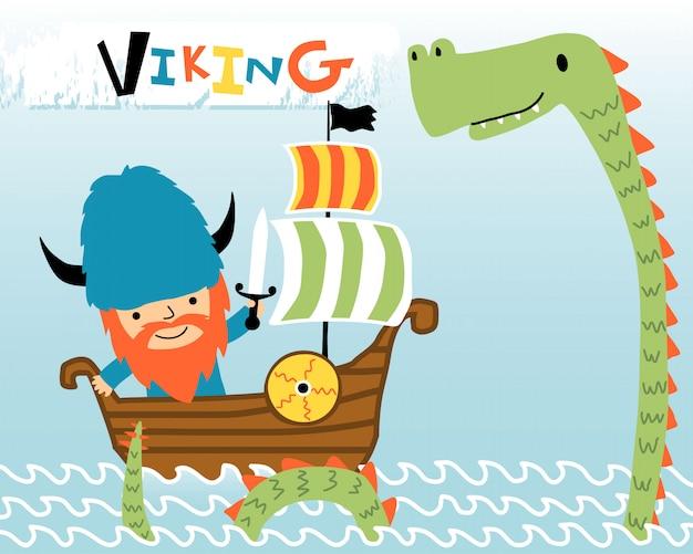 Cartoon van viking op zeilboot met zeemonster