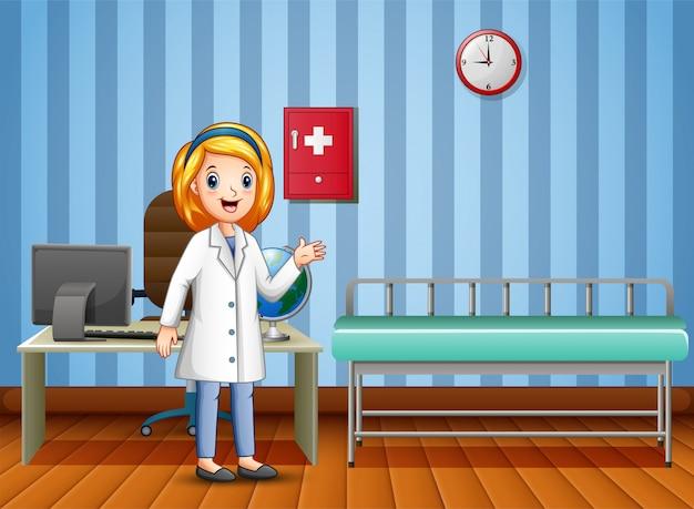 Cartoon van vrouw arts in overleg kamer