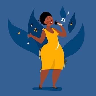 Cartoon van vrouwelijke afrikaanse jazz, soulzanger met microfoon in gele jurk geïsoleerd op blauw