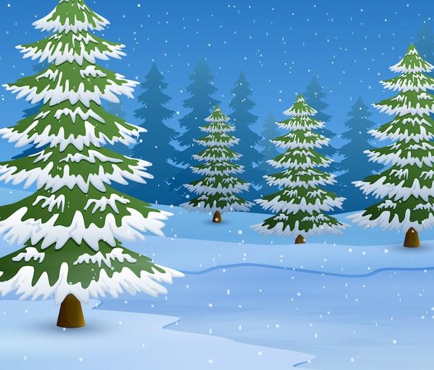 Cartoon van winterlandschap met besneeuwde grond en sparren
