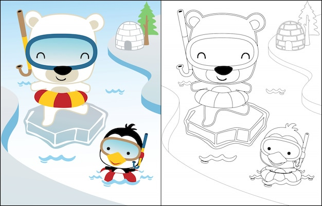 Cartoon van zwemmen met ijsbeer en pinguïn