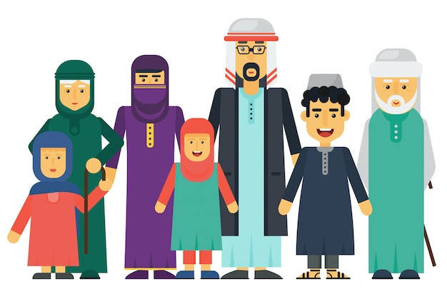 Cartoon vector arabische moslim familie set.