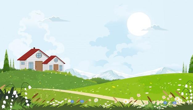 Cartoon vector lente landschap met bergen, blauwe lucht en wolken