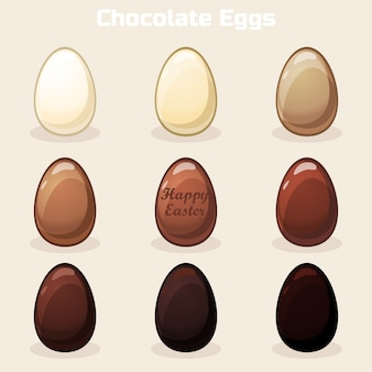 Cartoon vector pasen chocolade-eieren