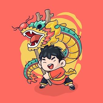 Cartoon vector pictogram illustratie van kind met schattige draak toy