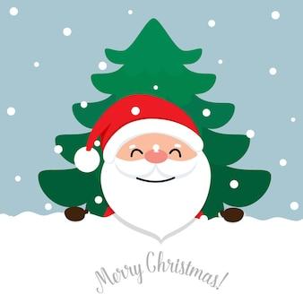 Cartoon vector santa claus en versierde kerstboom